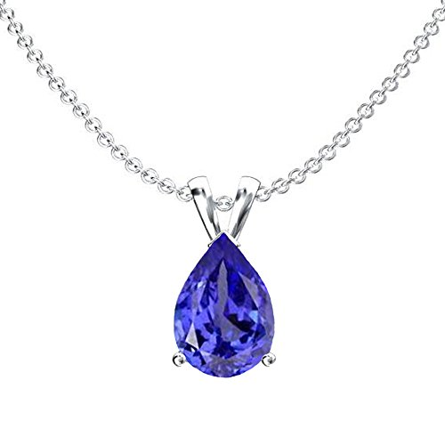 14K White Gold 9x7 mm Pear Cut Tanzanite Ladies Solitaire Pendant (Silver Chain Included) (Tanzanite Pendant 14k)