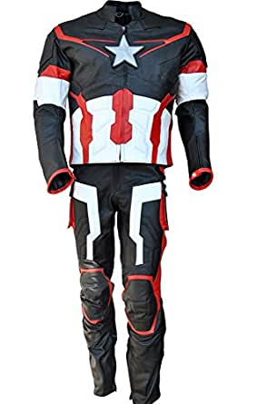 Sleekhides Men's Age of Ultron Real Leather Motorcycle Costume Cow Black X-Small