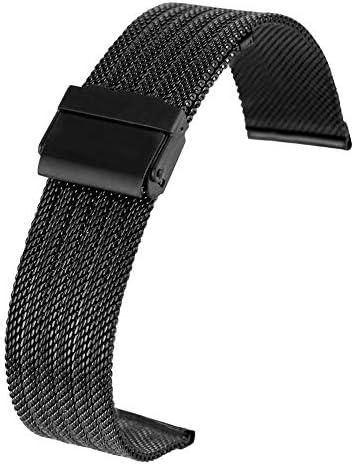 JWJY フックバックルプレミアム交換ブレスレット18MM 20MM 22mmの24MMシルバーステンレススチールメッシュストラップウォッチ (Band Color : Black, Band Width : 22mm)
