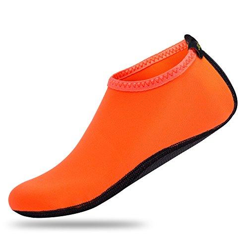 JACKSHIBO Männer Frauen und Kinder Quick-Dry Wasser Haut Schuhe Aqua Socken Für Wassersport Schwimmen Surf Yoga Exercise Beach Orange