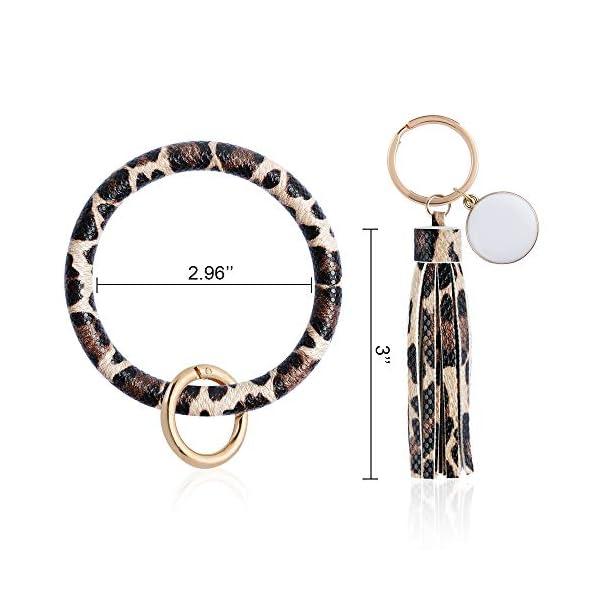 OFFICYGNET 3PCS Key Ring Bracelets, Leather Tassel Bangle Round Key Ring Wristlet Keychain for Women Girl and Valentine Birthday Party Gifts (Brown, Leopard, Snakeskin)