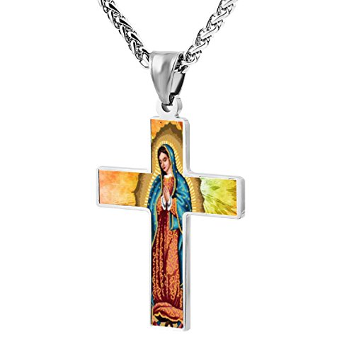 Holy Mary of Guadalupe Cross Stitch Religious Prayer Jewelry Pendant Zinc Alloy Cross Necklace