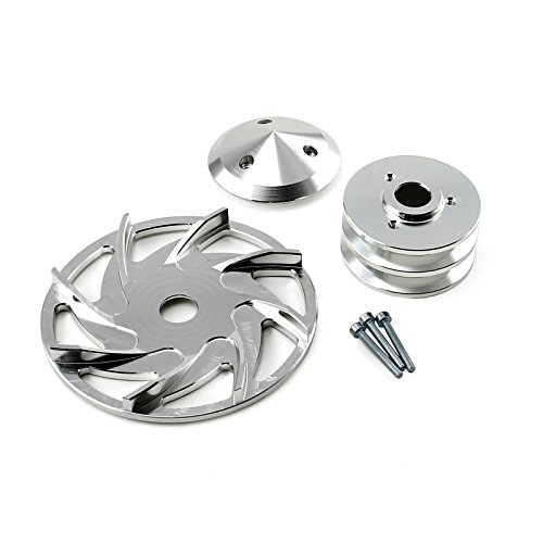 Universal Chevy fits Ford Dual V Groove Silver Billet Alternator Pulley and Fan Kit