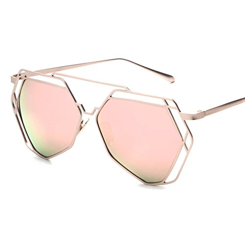 Vivian & Vincent Premiun Oversized UV Protection Sunglasses Eyewear Rose Gold Frame Rose Gold Lens (Golf Halloween Costumes)