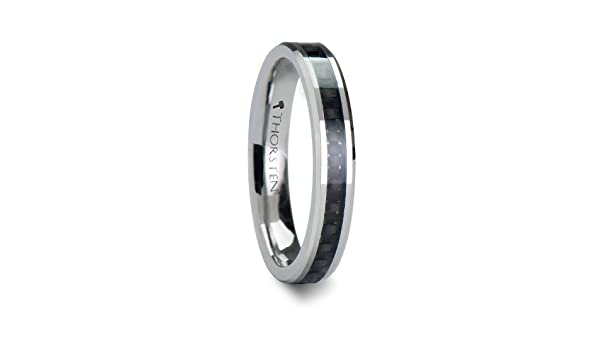 Thorsten Onyx Black Ceramic Wedding Band Ring with High Tech Black Carbon Fiber Inlay Polished Edges 6mm Width from Roy Rose Jewelry