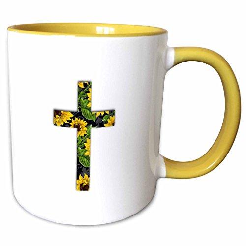 Yellow Cross Pattern (3dRose InspirationzStore Christian Designs - Sunflower pattern Christian Cross - black and yellow floral crucifix - 15oz Two-Tone Yellow Mug (mug_185475_13))