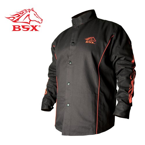 REVCO BX9C-XL BSX Black/Red Stryker FR Welding Jackets By Revco-X-Large