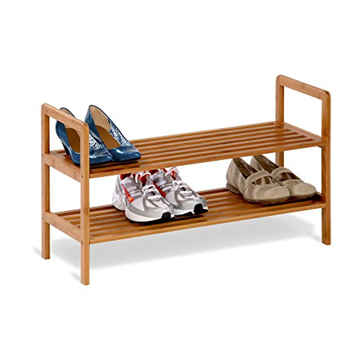 Pre Drilled Shoe Shelf - Honey-Can-Do SHO-01600 Bamboo 2-Tier Shoe Shelf