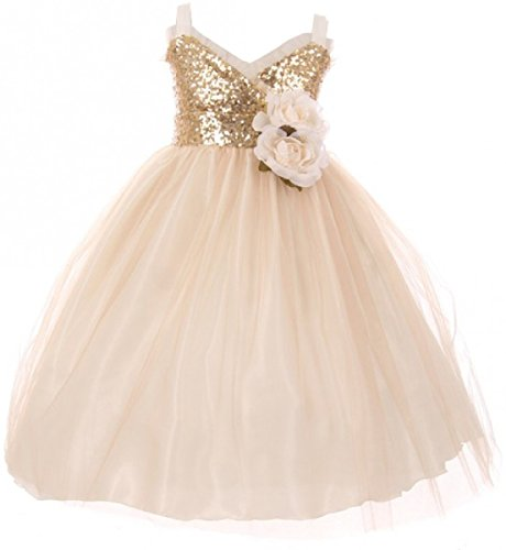Little Girls Dress Sequins Ruffle Trim Layered Tulle Pageant Party Flower Girl Dress Champagne Size 6 (K64K11)