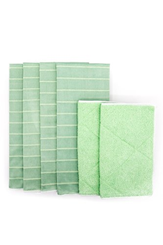 Angelgear Bamboo Microfiber Kitchen Dish Towels, Super Absorbent, Anti-Bacterial, Large 24'' x 16'' Inch 6 Pack Set!, Eco-Friendly, Quick Drying, All Purpose Household Cleaning, NO Lint, NO Streaks by Angelgear (Image #9)