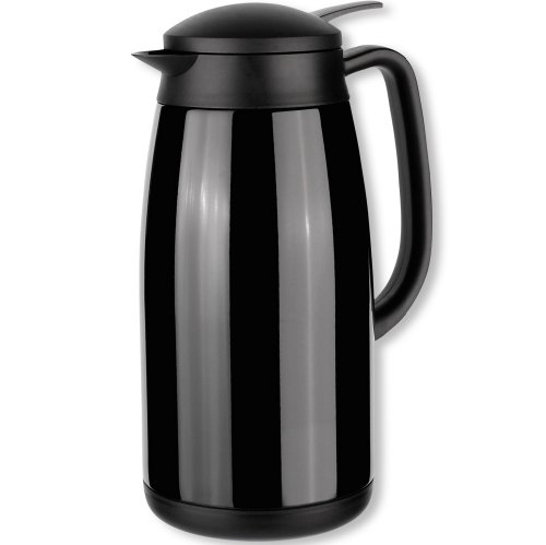 Isosteel Tableline VA-9343K 1.5 L Vacuum-Insulated Can with Quickstop Single-Hand Pouring-System, 18/8 Black Coated Stainless Steel 1.5l Vacuum Thermal Carafe