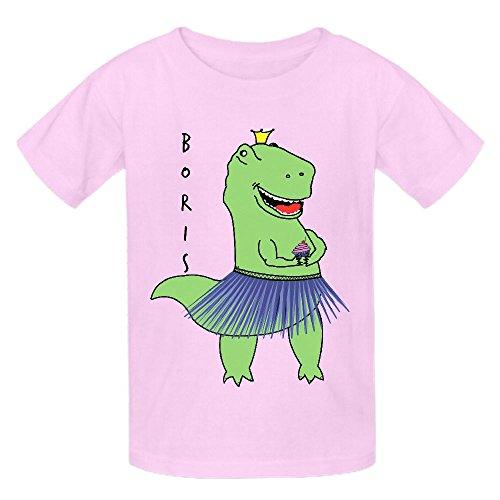 Boris Dinosaur Funny Girls Crew Neck Short Sleeve Shirts Pink - Ride Georgetown Jacket