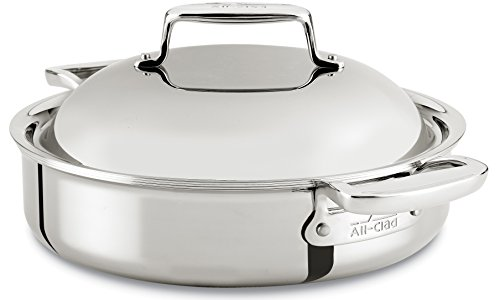 All-Clad SD7540416 D7 18/10 Stainless Steel 7-Ply Bonded Construction Dishwasher Safe Oven Safe Braiser Dutch Oven, 4-Quart, Silver by All-Clad
