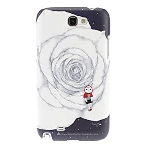Nsaneoo - White Rose Pattern Hard Case for Samsung Galaxy Note 2 N7100