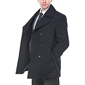 Chama Men's Wool Blend Winter Overcoat Classic Fit Jacket Pea Coat Car Coat (Blue, XXXL)