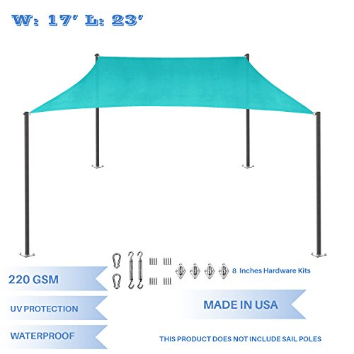 E K Sunrise 17 x 23 Waterproof Sun Shade Sail with Stainless Steel Hardware Kit-Turquoise Green Rectangle UV Block Perfect for Canopy Outdoor Garden Backyard-Customized