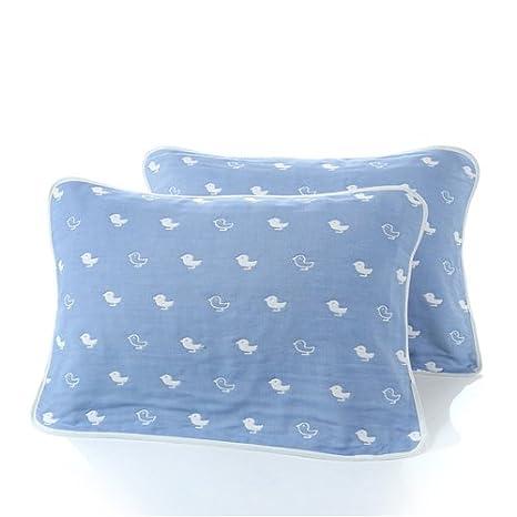 Mangeoo Baby baby shower toalla multi-capa de gasa de algodón cubierta de algodón gasa manta toalla vientre recién suministros,Blue Bird 52*78cm.