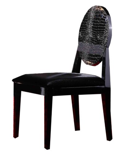 AA018 Black Crocodile Textured Lacquer Dining Chair Set of Two