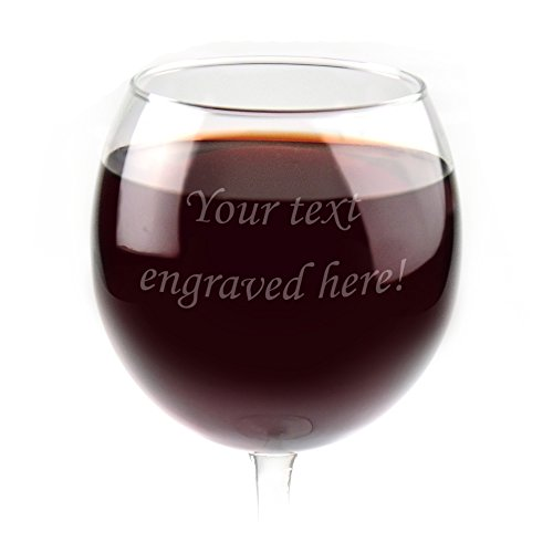 Personalized Red Wine Glass Engraved with Your Custom Text (Wine Red Personalized Glasses)