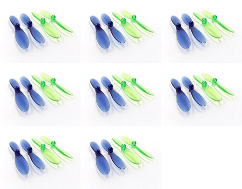 8 x Quantity of Revell QG 550 Mini Quadrocopter Transparent Clear Blue and Green Propeller Blades Props Rotor Set 55mm Factory Units