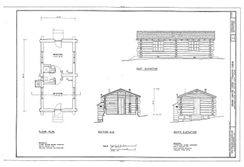 Blueprint Diagram HABS ARIZ,3-GRACAN,14E- (Sheet 1 of 1) - Grand Canyon Lodge, Pioneer Cabin, North Rim, Grand Canyon, Coconino County, AZ 12in x 08in