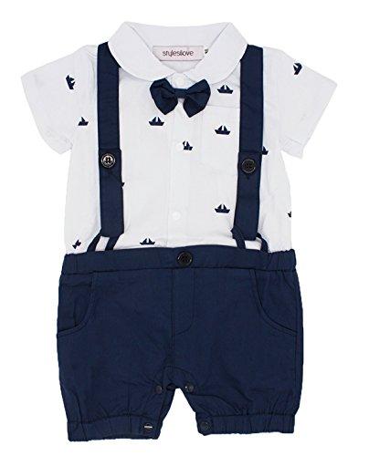 Stylesilove Sailor Boat Print Faux Suspender Baby Boys Short Sleeve Tux Romper
