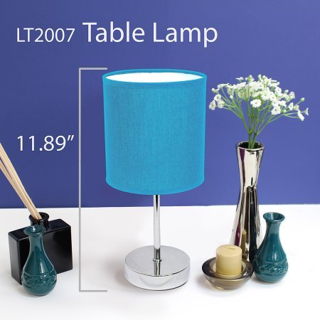 Simple Designs Chrome Mini Basic Table Lamp with Fabric Shade 2-Pack Set (Blue) by SimpleDesignsProducts
