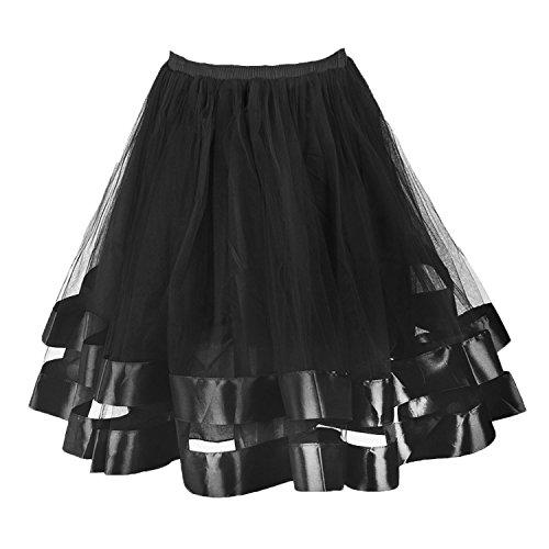 Tulle Mini Petticoat Skirt (Musever Women's Short Petticoat Elastic Waistband Tutu Tulle Mini Skirt Black XXL)