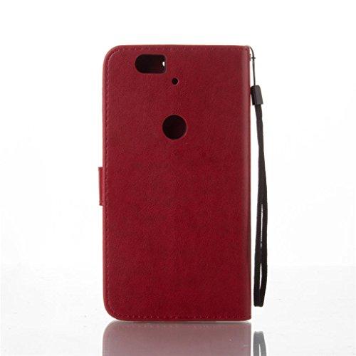 Erdong® Magnético Folio Flip Caso Con pata de cabra titular de la tarjeta Para Google Nexus 6P, Elegant Simple Book-style [Rojo flor de mariposa] patrón de impresión cuero del soporte Folio Pouch Prot
