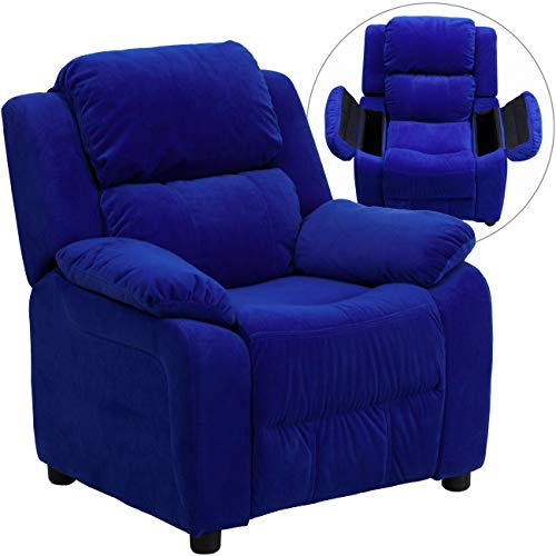 Flash Furniture Deluxe Padded Contemporary Blue Microfiber Kids Recliner with Storage Arms (Bedroom Orange Furniture)