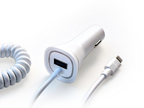 Price comparison product image New Rapid Fast Dual USB Car Charger for Apple iPhone X 8 8+ 7 7 Plus 6 6S 6+ 6S+ SE 5 5S iPad Air - 5v=2.4A - White with Red LED