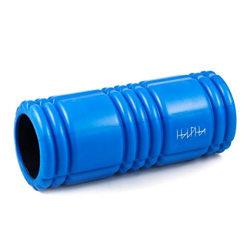 HALPHA Foamroller (blau), Faszienrolle, Massagerolle zur effektiven Selbstmassage und Faszientraining, Belastbar über 150kg, mit Anleitung, für alle Athleten geeignet