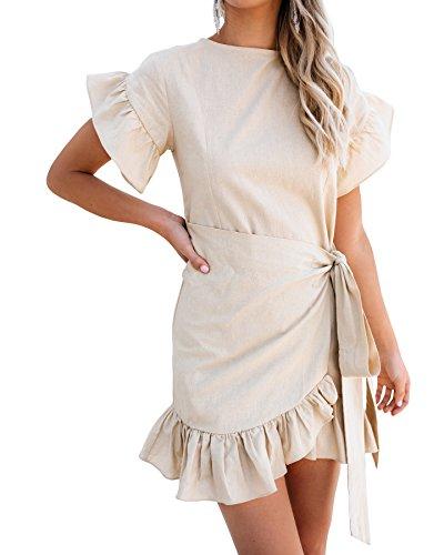 Youxiua Womens Wrap Ruffle Dresses Short Sleeve Casual Party Empire Waist Belts Mini Dress (Large, A-Khaki)