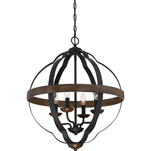 Quoizel SRN5204MK Siren Lantern Foyer Pendant Lighting, 4-Light, 240 Watts, Marcado Black (25