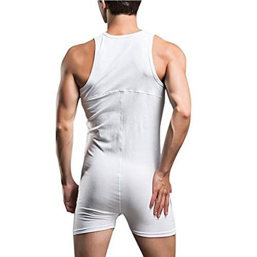 1b22031b3d YiZYiF Men s Underwear One Piece Cotton Tank Bodysuit Leotard Top Boxer  Brief