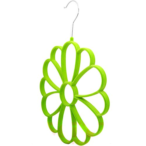 Nsstar Clothes Closet Hangers Clothing Organizer Scarf Holder Scarf Hanging System,Protect and Organize Your Delicate Scarves/clothes (Green flower scraf hanger