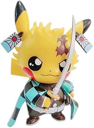 Lindsays Demon Slayer Blade Action Character Pikachu Cosplay Tanjirou Pikachu Character Statue Collection Birthday Model Anime Action Figure Toys Gifts PVC 4.3″… (Kamado Tanjirou)
