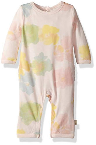 y Girl's Romper Jumpsuit, 100% Organic Cotton One-Piece Coverall, Dawn Morning Dew Ruffle Back, 24 Months ()