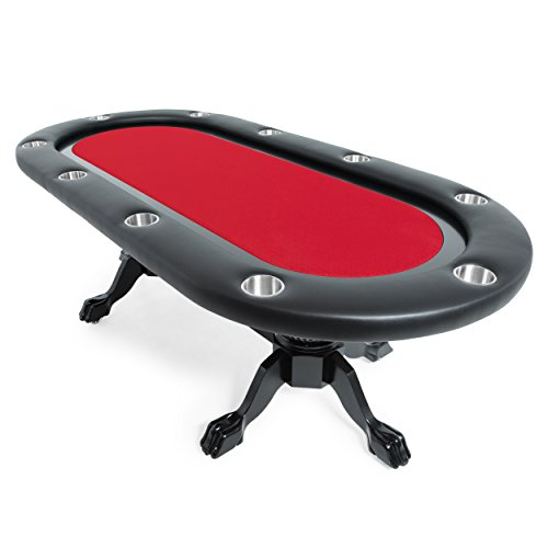 BBO Poker Elite Poker Table for 10 Players with Red Speed Cloth Playing Surface, 94 x 44-Inch Oval by BBO Poker