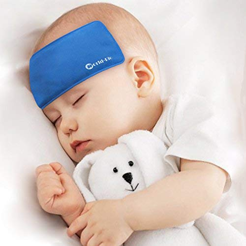 Fever Cooling Pad & Reusable Ice Gel Eye Mask with Elastic Strap, Hot Cold Therapy for Baby Kids Toddler - First Aid Patch for Migraine Relief, Bruises Smoothing, Bumps, Set ()