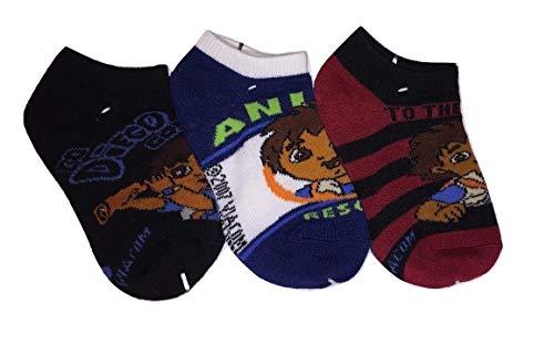 Diego 3 Sock (Size 4-6, Telescope Black, Red-Black Stripe, Navy Animal Rescue) ()