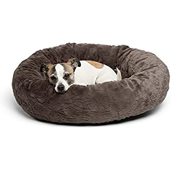 Best Friends by Sheri Luxury Faux Fur Donut Cuddler (23x23), Mink - Small Round Donut Cat and Dog Cushion Bed, Orthopedic Relief