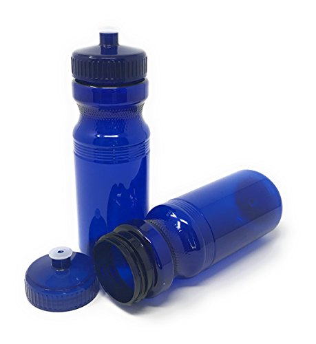 CSBD Blank 24 oz Sports and Fitness Water Bottles, BPA Free, PET Plastic, Made in USA, Bulk, 4 Pack (Navy Blue, 24 Ounces)