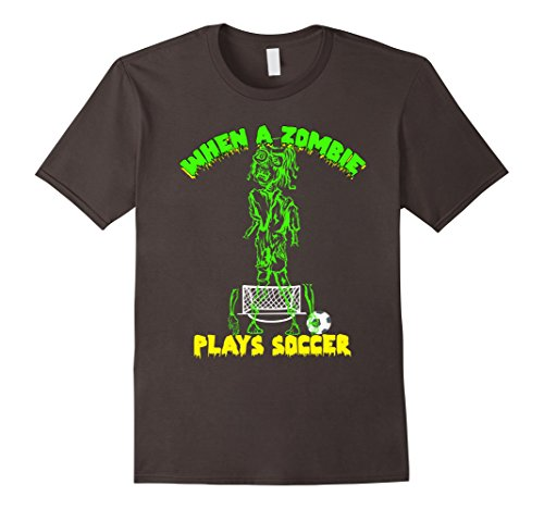 Mens When a Zombie Plays Soccer T-Shirt Trick or Treat XL Asphalt