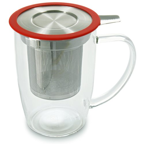 FORLIFE NewLeaf Glass Tea 16-Ounce Mug with Infuser and Lid, Red