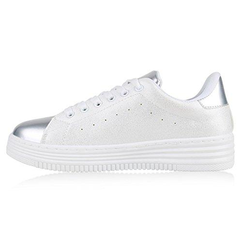 Damen Sneaker Low Basic Sneakers Lack Metallic Turnschuhe Glitzer Schuhe Snake Sportschuhe Leder-Optik Denim Schnürer Flandell Silber Weiss Agueda