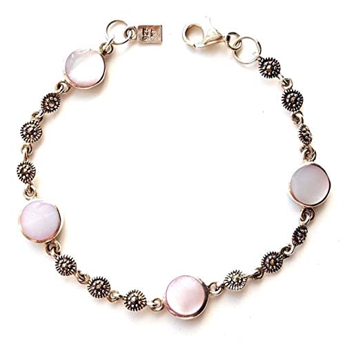 Pink Mother of Pearl Bracelet Marcasite .925 Sterling Silver (7.25-inch L) - Marcasite Mother Bracelet Pearl Of