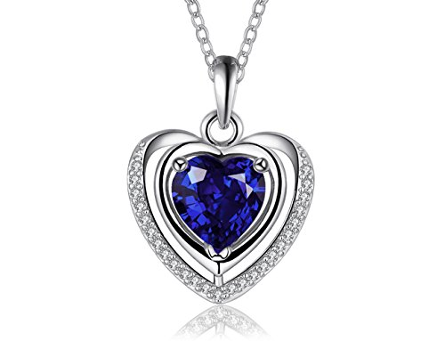 PMANY 925 Sterling Silver Plated Heart Shape Blue Sapphire Pendant,Crystals Jewerly Necklace,for Women (Deep Blue Sapphire Diamond)