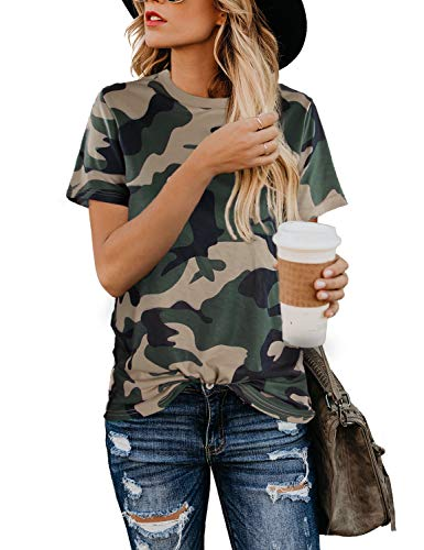 BMJL Women's Casual Cute Shirts Leopard Print Tops Basic Short Sleeve Soft Blouse (Large, Camo Print) (Woman Shirts)