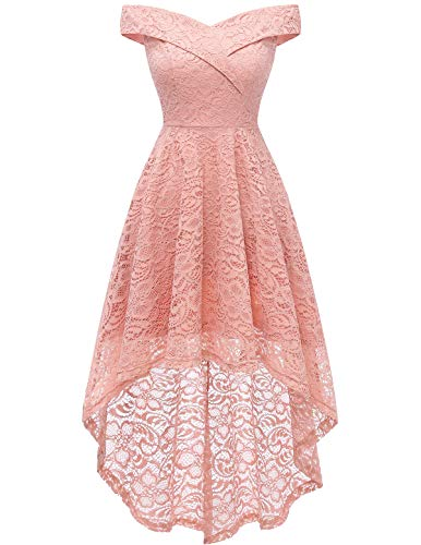 Homrain Women's Off Shoulder Hi-Lo Floral Lace Dress Vintage Elegant Cocktail Party Wedding Dresses Blush 2XL